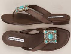 Brown and Turquoise Sandals