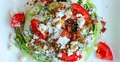 Blue Cheese Cilantro Wedge Salad with Homemade Blue Cheese Dressing! _ Top with the tomato, crumbled blue cheese, and crumbled bacon. Meat Salad, Salad Sauce, Seafood Salad, Shrimp Salad, Cilantro Salad Dressings, Cilantro Dressing, Best Salads Ever, Cheese Omelette, Blue Cheese Salad