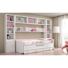 Dormitorio juvenil tipo puente en blanco y rosa con librerias, 2 camas y cajones. Muebles para dormitorios de niñas.