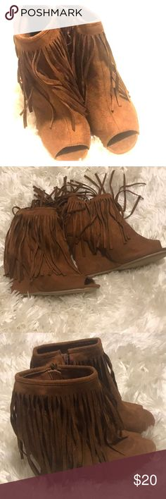 Brown fringe peep toe wedges Very cute and stylish boots. Never been worn. Shoes Heeled Boots