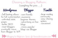 Blogging for Beginners: Week Two: Choosing a Blogging Platform and Theme    >>>via themodernausten.com
