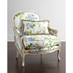 Massoud Tammy Bergere Chair (151.360 RUB) ❤ liked on Polyvore featuring home, furniture, chairs, accent chairs, chair, decor, green floral, nailhead chair, green chair and green accent chair