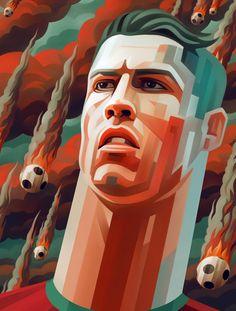 Cristiano Ronaldo illustration by Evgeny Parfenov Art And Illustration, Creative Illustration, Portrait Illustration, Graphic Design Illustration, Illustrations Posters, Cristiano Ronaldo, Ronaldo Soccer, Caricatures, Football Art