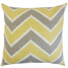 The Pillow Collection Hoku Zigzag Linen Throw Pillow Cover Color: Chamois