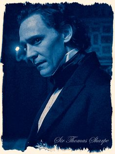 """In this story Thomas Sharpe is the tall, dark stranger, a figure of mystery and magnetism who Edith is drawn to and you hope the audience is as well. You want him to be captivating and charming and also full of secrets. You want to basically encourage that you want to know what those secrets are."" [Tom Hiddleston]. (Source: aintitcool.com. Crimson Peak set report"
