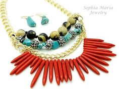 CLEARANCE Sale Jungle Fever Natural Stone Necklace Set Tribal Look Red Turquoise | eBay #SophiaMariaJewelry