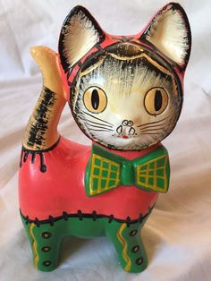 VINTAGE 1960s 70s Early Ceramic Cat Bank Made in JAPAN Rare