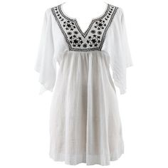 White Cotton Tunic Beach Cover Up With Black Embroidery Luxury Divas. $34.99