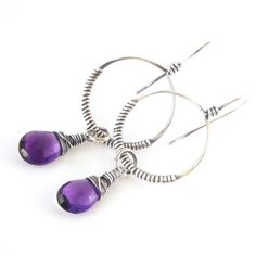 Wire Wrapped Hoop Earrings Amethyst Dangle Oxidized Sterling Silver