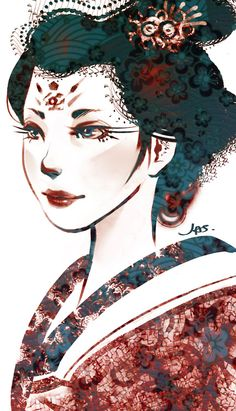 """We have uncovered a watercolor painting of Linh Peony from Artist Fah Li at New Beijing Markets. He says """"Linh Peony was beautiful and vivacious young girl who brought a smile to all that knew her.""""(Geisha by Jaslynn Tham)"""