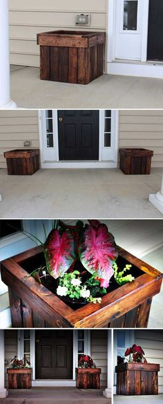 Stained Pallet Planter Box   12 Creative DIY Pallet Planter Ideas for Spring   Beautiful Pallet Gardening Crafts, check it out at http://diyready.com/pallet-projects-gardening-supplies/
