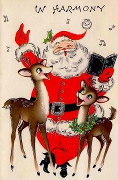 Santa sings Christmas carols with his reindeer...mid-century vintage card.