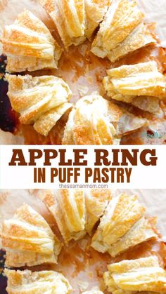 Try this apple puff pastry ring for an amazing fall dessert or breakfast idea! It's so delicious, you wont believe how quick this comes together! Apple Recipes With Puff Pastry, Desserts With Puff Pastry, Puff Pastry Dinner Recipes, Apple Turnovers With Puff Pastry, Nutella Puff Pastry, Easy Pastry Recipes, Apple Dessert Recipes, Recipes Dinner, Turnover Recipes