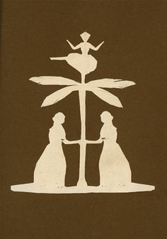 Two women by a palm tree with a ballerina on top of it. Hans Christian Andersen Drawings, Odense City Museums