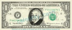 ALBERT EINSTEIN Smiling on a REAL Dollar Bill Cash Money Collectible Memorabilia