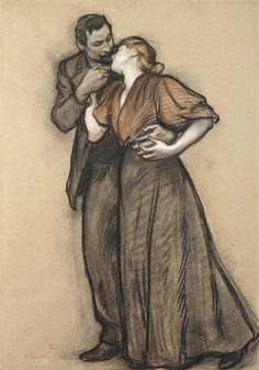 The silence - Victor Prouvé (1858-1943), Les Fiancés - 1897 on...