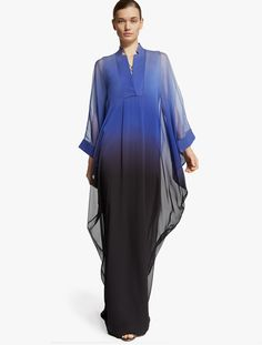 Shop for Ombre Printed Chiffon Kaftan by Halston at ShopStyle. Hijab Fashion, Fashion Outfits, Maxi Robes, Caftan Dress, Kurta Designs, Print Chiffon, Modest Outfits, African Fashion, Beautiful Outfits