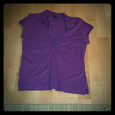 Purple Polo Preppy, cute, and comfy!  Folds at chest accentuate in the perfect spot!  Sleeves are more capped than a full short sleeve. H&M Tops