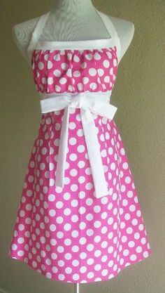 Polka Dot Halter Apron Hot Pink & White Full Apron by Eclectasie