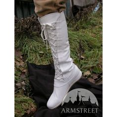 Medieval White Fantasy High Forest Boots (£190) ❤ liked on Polyvore featuring shoes, boots, white boots, genuine leather boots, leather boots, white leather shoes and genuine leather shoes