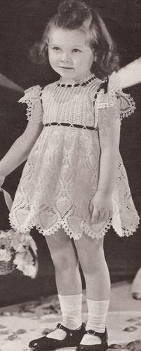 Vintage Pineapple Crochet Girls Dress PATTERN Toddler Sizes 2 4 FlowerGirl