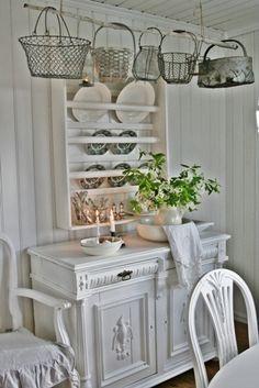 pristine white.. antique painted furniture. Very pretty.