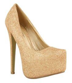 High heeled platform glitter shoes