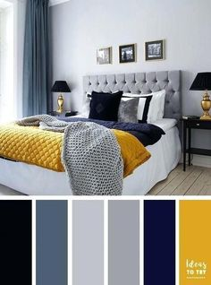 Yellow and grey bedroom decor navy blue and yellow bedroom grey and blue decor with pop . yellow and grey bedroom decor Grey Colour Scheme Bedroom, Grey Bedroom With Pop Of Color, Grey Bedroom Decor, Living Room Color Schemes, Blue Home Decor, Bedroom Kids, Mustard And Grey Bedroom, Modern Bedroom, Grey Color Schemes