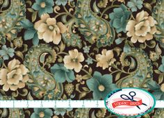 Hey, I found this really awesome Etsy listing at https://www.etsy.com/listing/181650207/teal-black-floral-fabric-by-the-yard-fat