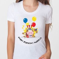 "Happy Birthday America Tee  4th of July ""Happy Birthday America T-Shirt    ***The perfect 50/50 blend creates a soft and comfortable slim-fitting T-shirt. This will be one of your new favorite t-shirts."