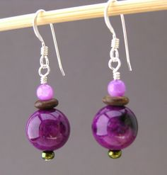 Purple and Fuchsia Dangling Earrings with Sterling Silver ear wires, Jewelry by Informalelegance on Etsy, E 156