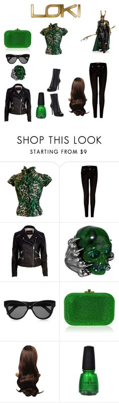 """""""Teen Loki"""" by pegacece ❤ liked on Polyvore featuring Diane Von Furstenberg, 7 For All Mankind, River Island, Alexander McQueen, Linda Farrow, Judith Leiber, China Glaze and BCBGMAXAZRIA"""
