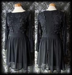 Goth Black Lace DECADENCE High Neck Tea Dress 10 12 Victorian Romantic Vintage - £36.00