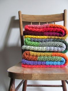 Crochet - 8 colors, 12 rows of each, in dc. (ch 147 for 145 st across)  Must make a stack of these, yes.