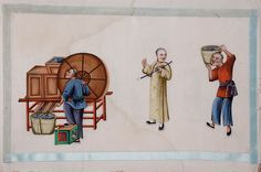 6. Album of Chinese paintings showing stages of tea production, watercolour on pith paper, 19th century. Caroline Simpson Collection, Historic Houses Trust