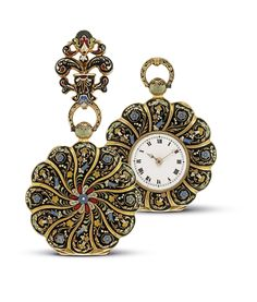 Gold and Enamel Pocket Watch with Detachable Brooch, ca. 1830 - Freunder