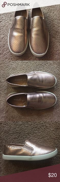 Madden Girl Swiivell Slip On Shoes These brand new Madden Girl Slip on Shoes are the perfect way to glam up any outfit! Madden Girl Shoes Flats & Loafers