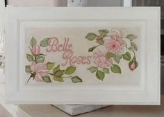 BELLE ROSES ROMANTIC HP PAINTING PINK ROSES WOOD PANEL SHABBY FRENCH DECOR  http://www.ebay.com/itm/121327742348?ssPageName=STRK:MESELX:IT&_trksid=p3984.m1555.l2649