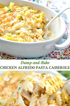 Dump and Bake Chicken Alfredo Pasta Casserole is an easy, cheesy, comfort food dinner for your busiest weeknights. One-pot meal! Pasta Casserole, Easy Casserole Recipes, Easy Dinner Recipes, Skillet Recipes, Chicken Casserole, Dinner Ideas, Meat Recipes, Chicken Recipes, Cooking Recipes