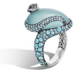 John Hardy Legends Cobra Aquamarine & Diamond Ring with Diamonds ($4,130) ❤ liked on Polyvore featuring jewelry, rings, aquamarine, eagle ring, aquamarine cabochon ring, aquamarine jewelry, carved ring and diamond jewellery