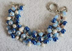 Charm Bracelet -Beaded, Pearl Blue and Sand Glass Beads - SAILING The OCEAN BLUE