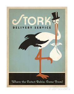 Stork Delivery Service (Blue) Print by Anderson Design Group at AllPosters.com
