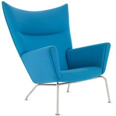 Hans J. Wegner Wing Chair, Divina Melange Fabric ($6,080) ❤ liked on Polyvore featuring home, furniture, chairs, accent chairs, interior, blue, wing-back chair, blue upholstered chair, fabric chairs and blue wing chair