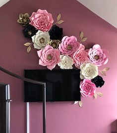 14 pc Paper Flowers, backdrop, candy buffet, decor, Customize your colors! Paper Flowers Craft, Paper Flower Wall, Paper Flower Backdrop, Flower Crafts, Diy Flowers, Flower Decorations, Butterfly Crafts, Diy Paper, Paper Crafts