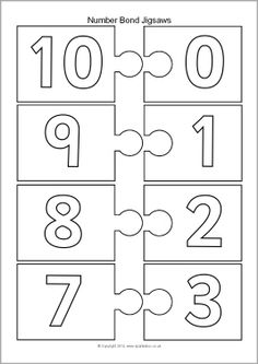 Number bonds to 10 jigsaw pieces - black and white (SB10439) - SparkleBox