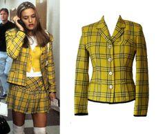 vintage Gaultier tartan jacket, as worn by Cher in Clueless Checked Blazer, Plaid Blazer, Blazer Jacket, Clueless Halloween Costume, Cher Clueless, Tartan Pattern, Black Trim, 90s Fashion, Yellow