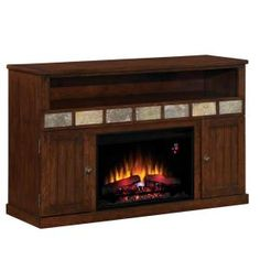 Margate 55 in. Media Electric Fireplace in Caramel Oak-75119 at The Home Depot