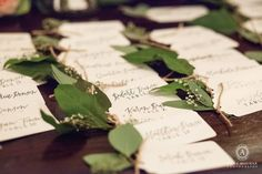 Calligraphy and greenery? Be still my heart - we love how Samantha and Andrew dressed up their place card table with seeded eucalyptus! Bulk Wedding Flowers, Wedding Wreaths, Garland Wedding, Diy Wedding, Bulk Flowers Online, Place Card Template, Cheap Flowers, Seeded Eucalyptus, Floral Supplies