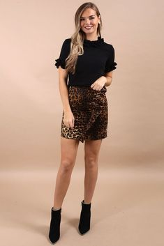 7b72ceed1f Jerrika Animal Print Ruffle Detail Skirt