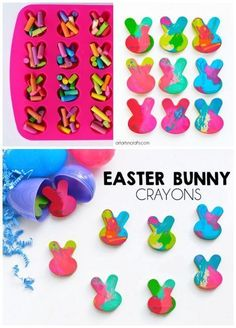 How To Make Easter Bunny Crayons - Perfect for an easy non-candy Easter egg filler! How To Make Easter Bunny Crayons - Perfect for an easy non-candy Easter egg filler! Easter Hunt, Easter Party, Bunny Party, Easter Dinner, Easter Table, Easter Activities, Easter Crafts For Kids, Bunny Crafts, Easter Decor
